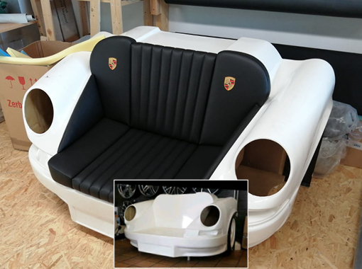 Porsche-Front als Sessel